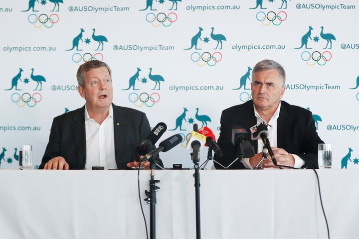 AOC Chief Executive Matt Carroll and Australian Team Chef de Mission for Tokyo 2020 Ian Chesterman speak to the media during an AOC press conference at the MCA Building on March 19, 2020 in Sydney, Australia.