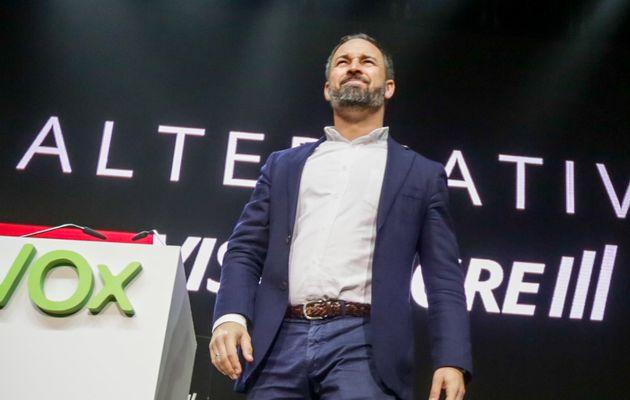 El presidente de Vox, Santiago Abascal, el 8 de marzo de 2020 en
