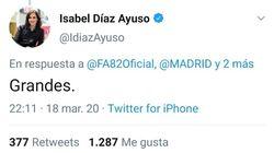 Díaz Ayuso elogia al grupo ultraderechista Frente Atlético por ofrecerse a ayudar con el