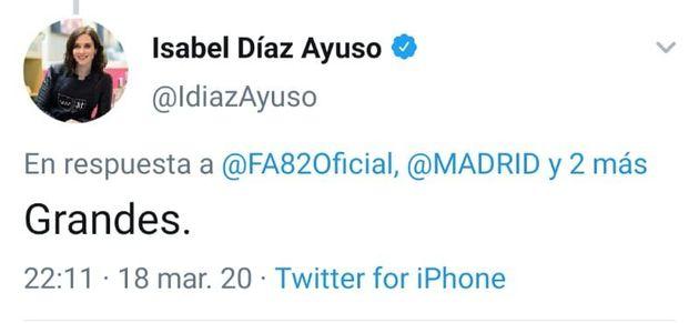 Díaz Ayuso, al Frente Atlético: