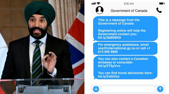 Innovation Minister Navdeep Bains is shown in a composite phot with an image of text messages that will be sent to Canadians abroad during the coronavirus pandemic.