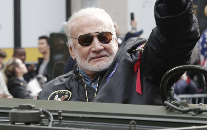 Buzz Aldrin, pictured in November 2019, is taking strict measures to protect himself from the coronavirus.