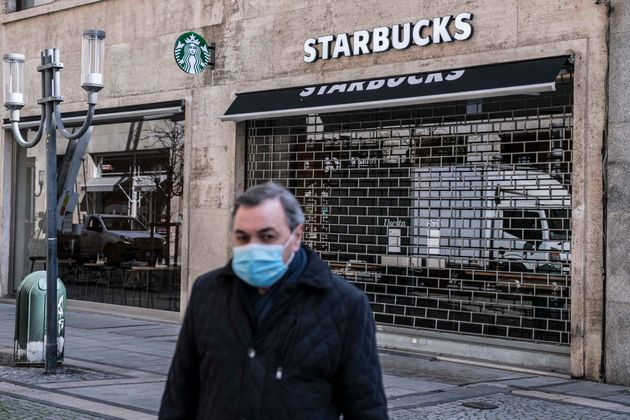 TURIN, ITALY - MARCH 19: General view of Starbucks coffee store closed in Via Roma in Turinduring on...