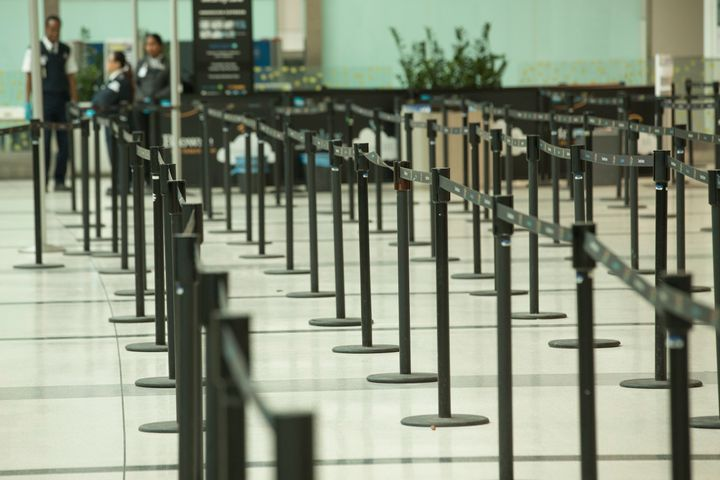 The security lineups at Terminal 3 of Pearson International Airport were empty on March 13, 2020.