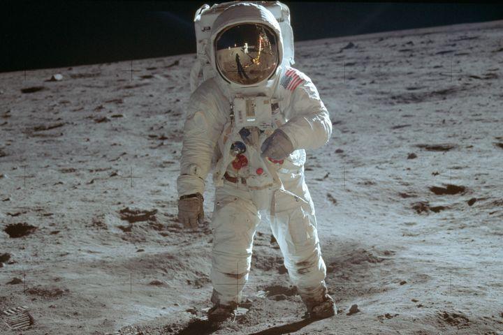 Buzz Aldrin walks on the moon in July 1969.