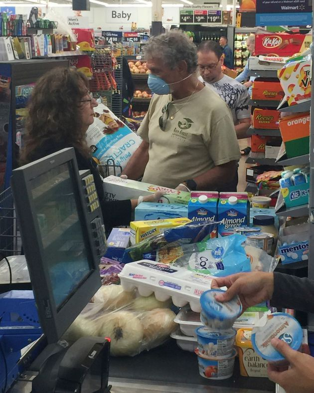 Shoppers stocking up on groceries in a Walmart in Coconut Creek, Florida, last