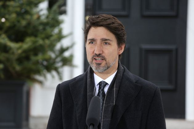 Canadian Prime Minister Justin Trudeau speaks during a news conference on COVID-19 situation outside...