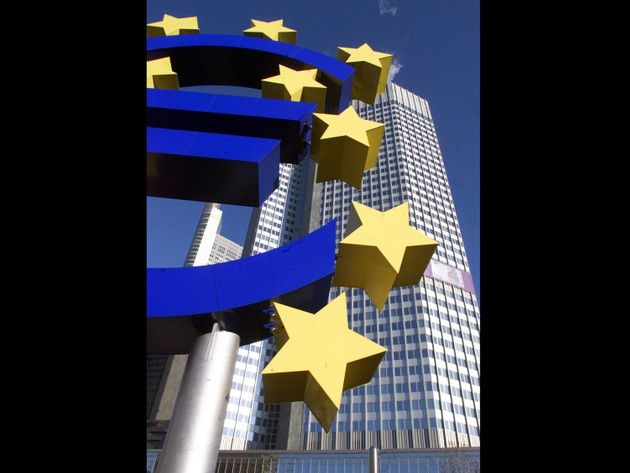 Euro currency sign outside European Central Bank headquarters, Frankfurt, Germany, photo on