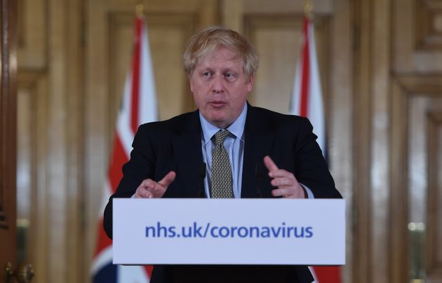 Prime Minister Boris Johnson speaking at a media briefing in Downing Street, London, on