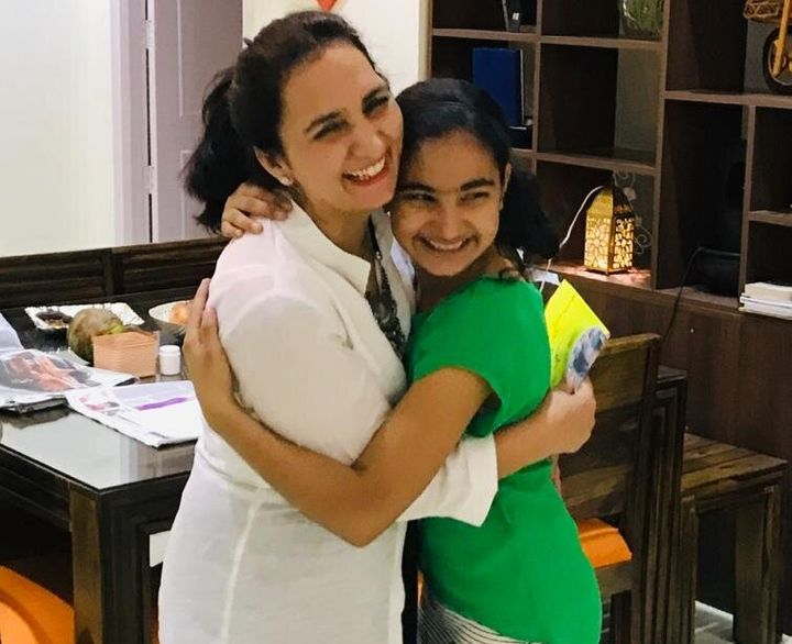 Waiting for the Big Hug : Dr Sushila Kataria with her 13 years old daughter Samriddhi.