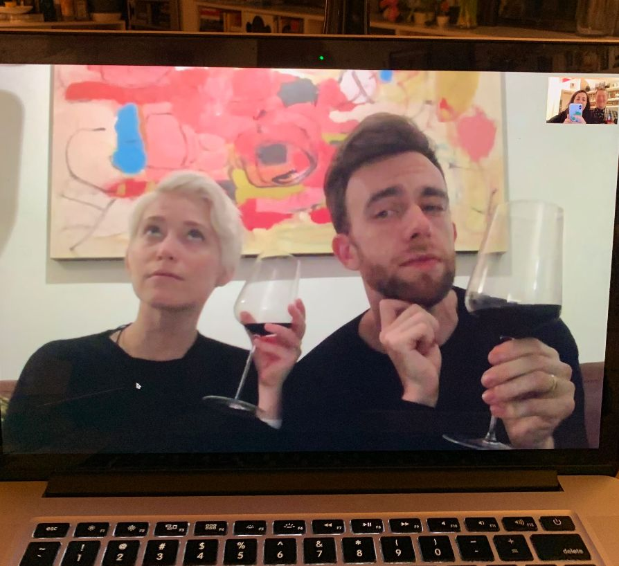 Sami (left) and Mike, both 33, have a double date via FaceTime with their friends.