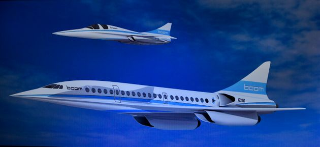 Artist renderings of the startup Boom Technology's design for the XB-1 Supersonic Demonstrator