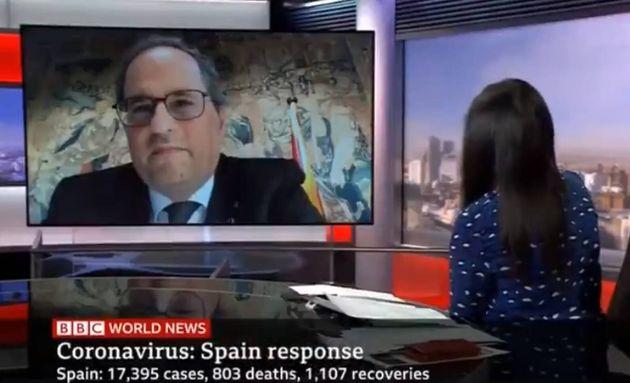 El presidente de la Generalitat, Quim Torra, durante su entrevista en la