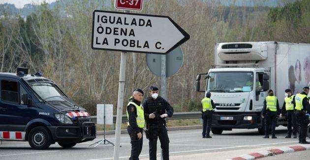 Controles en Igualada (Barcelona) tras el