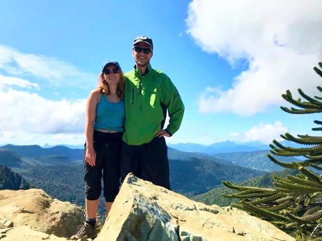 Nicole Bayes-Fleming is shown with her boyfriend, Luke Carroll, on a backpacking trip in South