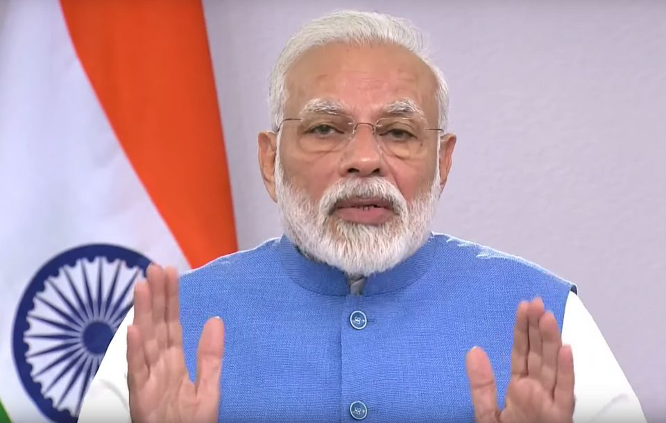 Prime Minister Narendra Modi speaking about the coronavirus pandemic on Thursday, 19 March