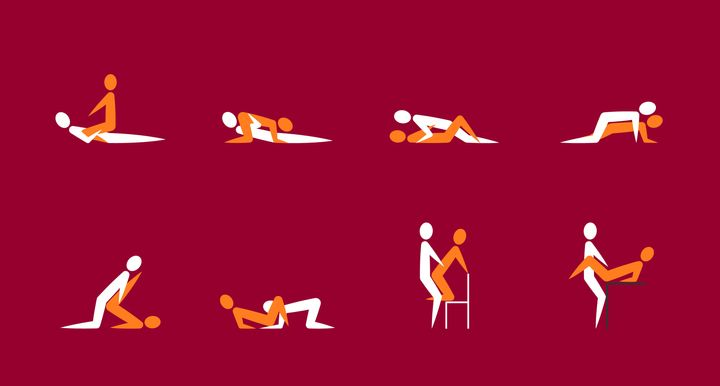 Cartoon Different Sex Poses or Position Couple Set Concept Of Passion Erotic Flat Design Style on a Red. Vector illustration of Sexuality Pose
