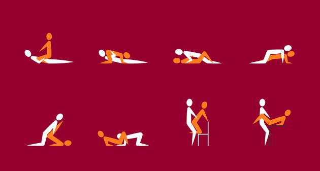 Cartoon Different Sex Poses or Position Couple Set Concept Of Passion Erotic Flat Design Style on a Red....