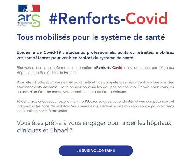 #Renforts-Covid, une plateforme pour que les volontaires se fassent