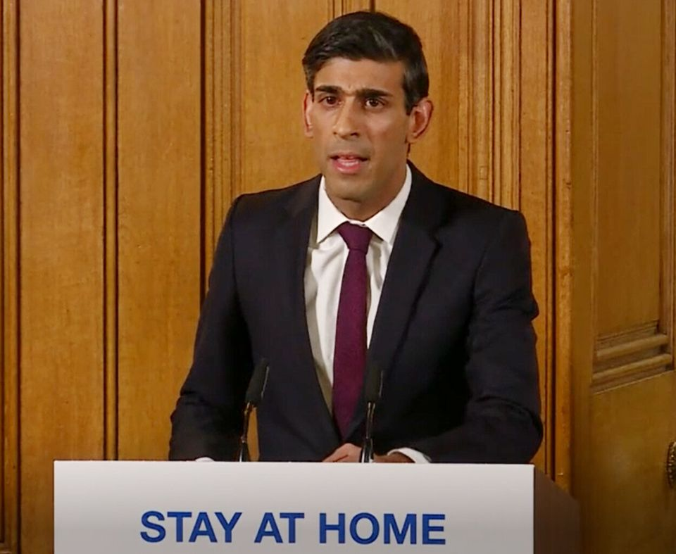 A screen-grab of Chancellor Rishi Sunak speaking at a media briefing in Downing Street, London, on coronavirus