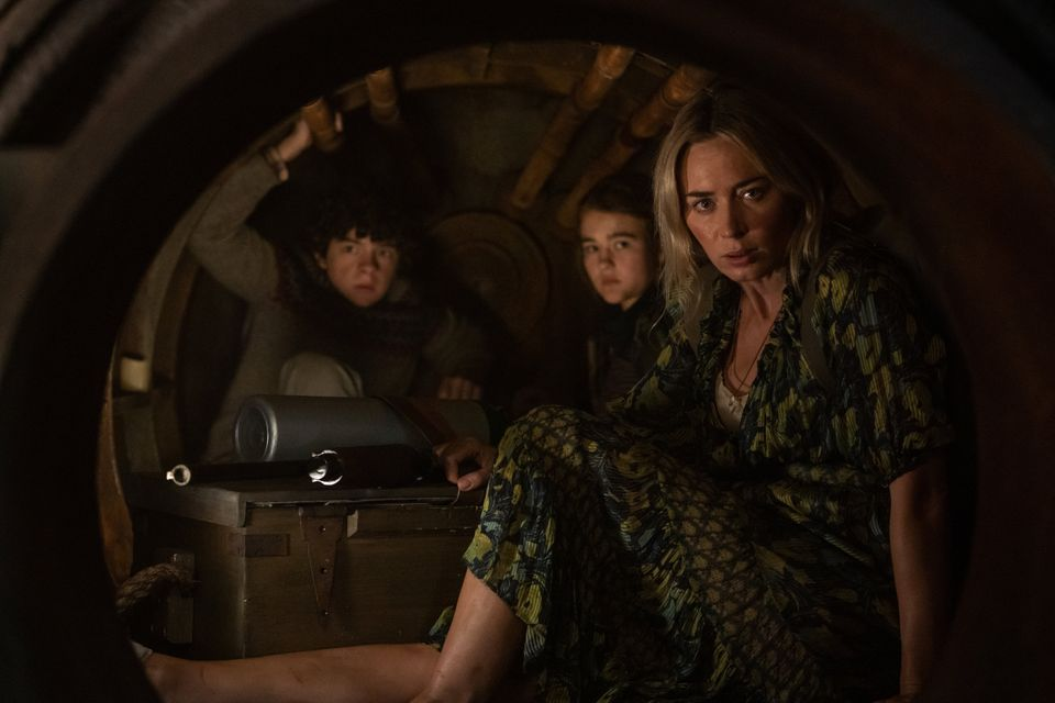 Noah Jupe, left, Millicent Simmonds and Emily Blunt in