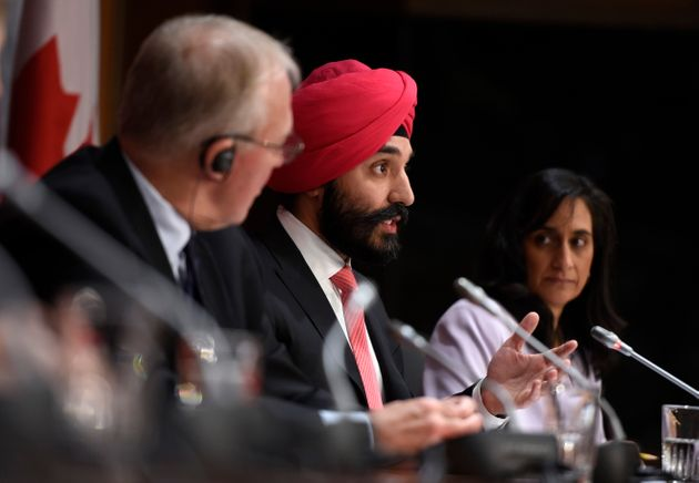 Innovation Minister Navdeep Bains speaks during a press conference on COVID-19 in West Block on Parliament...