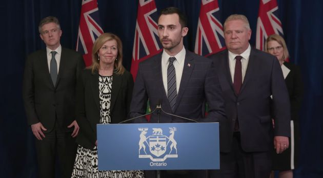 Ontario Education Minister Stephen Lecce unveils online learning tools for students to use while schools...