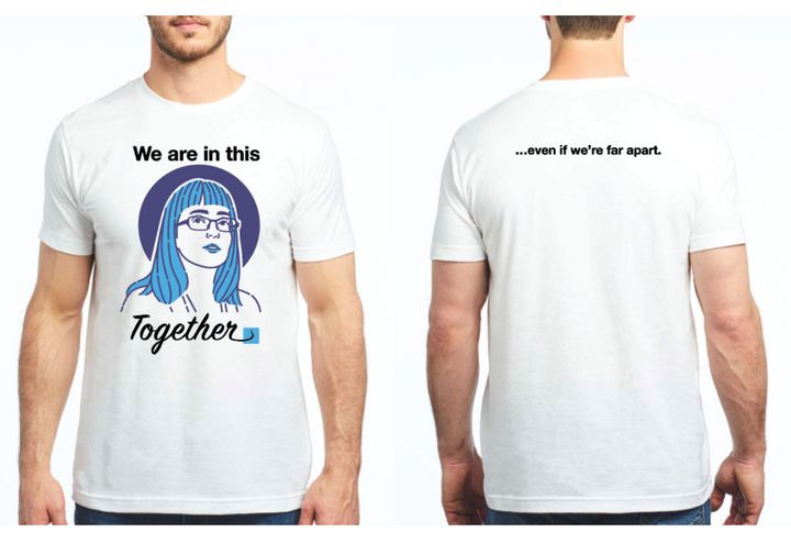 A shirt being sold to raise money for the Calgary Food Bank, featuring the image of Alberta chief medical officer of health Dr. Deena Hinshaw.
