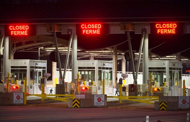 The Canadian border is pictured at the Peace Arch Canada/USA border crossing in Surrey, B.C. Friday,...