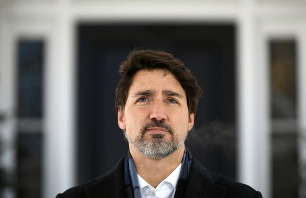 Prime Minister Justin Trudeau speaks at a press conference on COVID-19 at Rideau Cottage, his residence...
