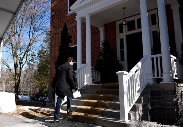 Prime Minister Justin Trudeau leaves a press conference on COVID-19 at Rideau Cottage, his residence...
