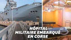 Le Tonnerre, porte-hélicoptères de l'armée, est en Corse pour déplacer des