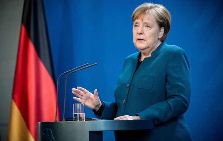 German Chancellor Angela Merkel makes a press statement on the spread of the new coronavirus at the Chancellery in Berlin on
