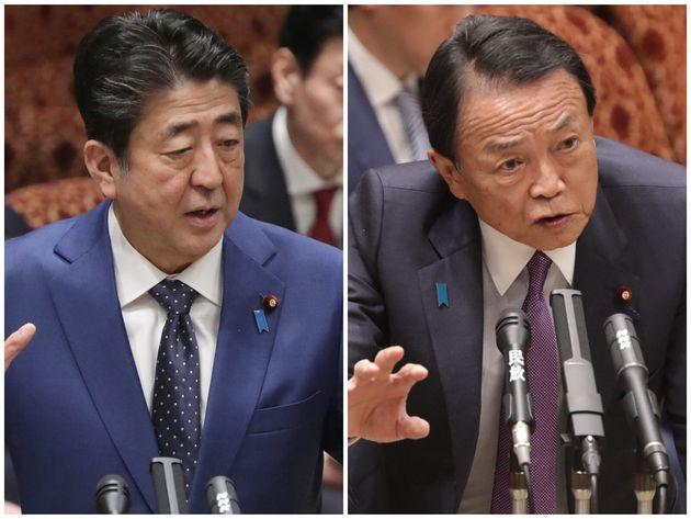 答弁する安倍晋三首相、麻生太郎財務大臣