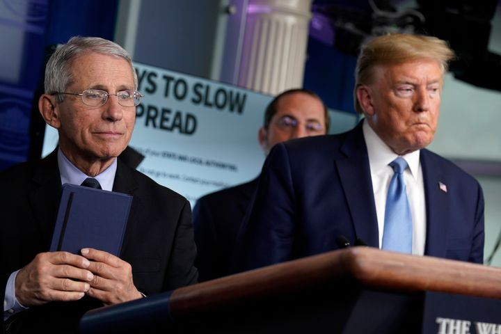 Dr. Anthony Fauci, left, andPresident Donald Trump at a White House press briefing with the coronavirus task force.