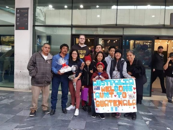 Silvia McIntosh, who grew up in Melbourne with adopted parents, flew to Guatemala to see her birth parents on March 13. She is now stranded in Central America and away from her two small children. Silvia's extended family greeted her at La Aurora airport in Guatemala City on March 13, 2020.