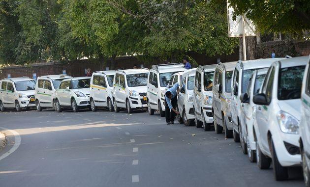 Ola and Uber taxi drivers seen in a file photo at Jantar Mantar, New