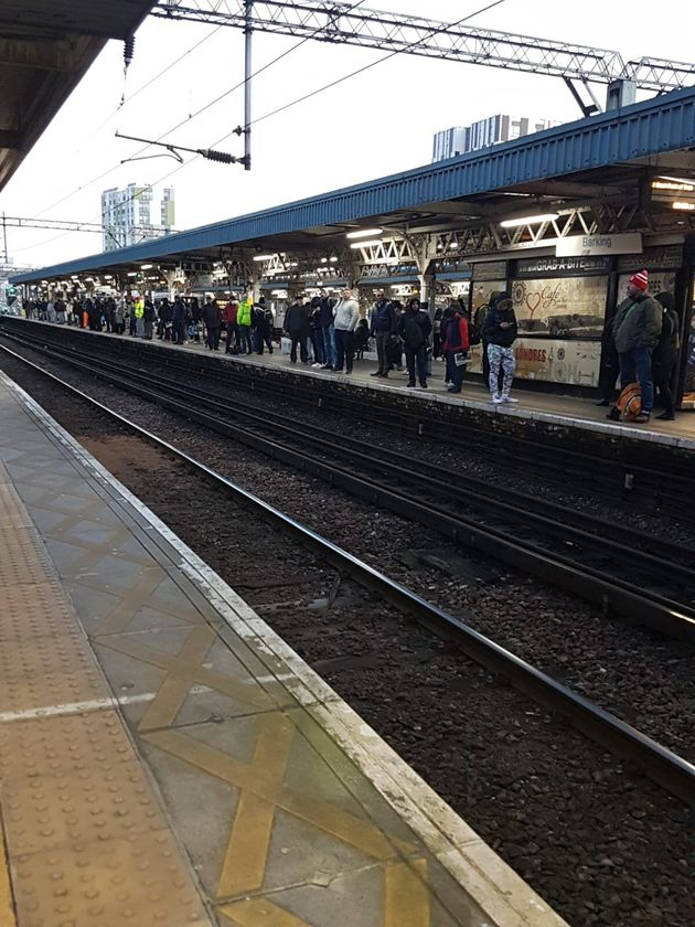 A crowded station platform at Barking on
