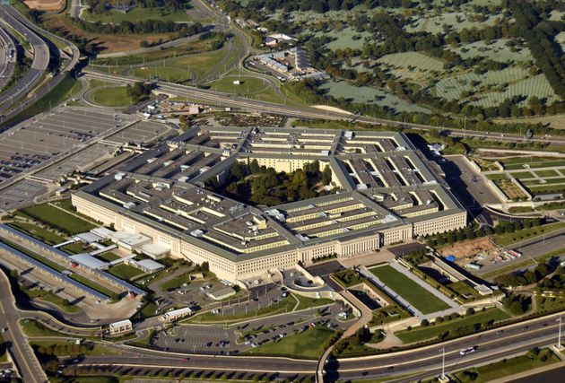 US Pentagon in Washington DC building looking down aerial view from