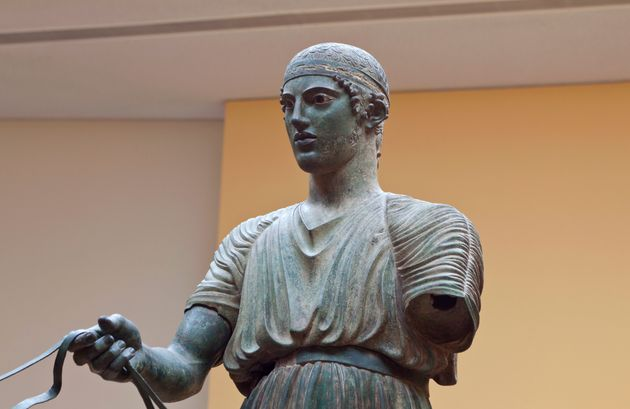 Charioteer statue located at Delphi museum in