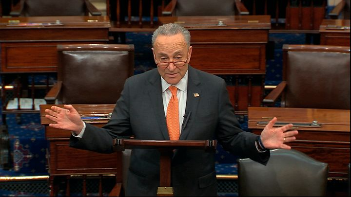 In this image from video, Senate Minority Leader Chuck Schumer, D-N.Y., speaks on the Senate floor at the U.S. Capitol in Was