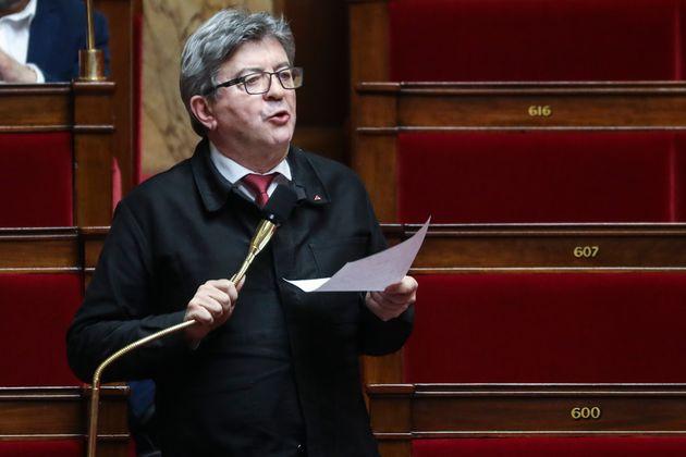 Le député des Bouches-du-Rhône Jean-Luc Mélenchon dans l'hémicycle...