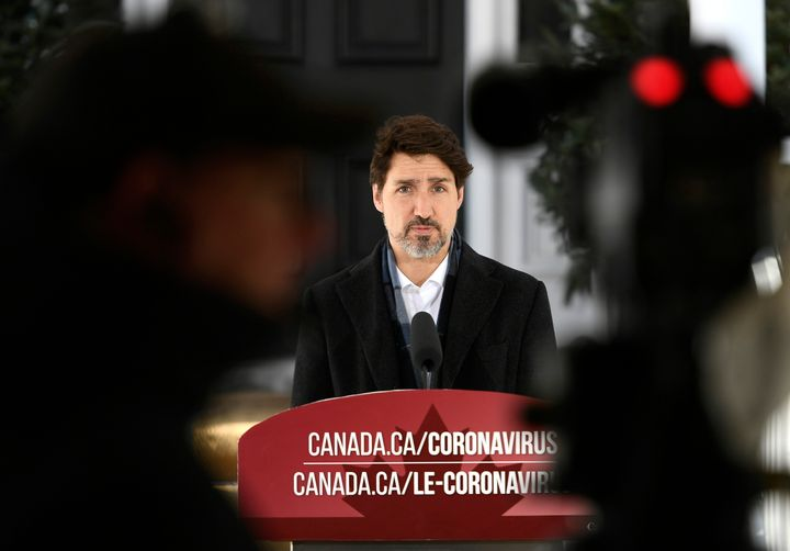 Prime Minister Justin Trudeau speaks at a press conference on COVID-19 at Rideau Cottage, his residence on the grounds of Rideau Hall in Ottawa, on March 21, 2020.