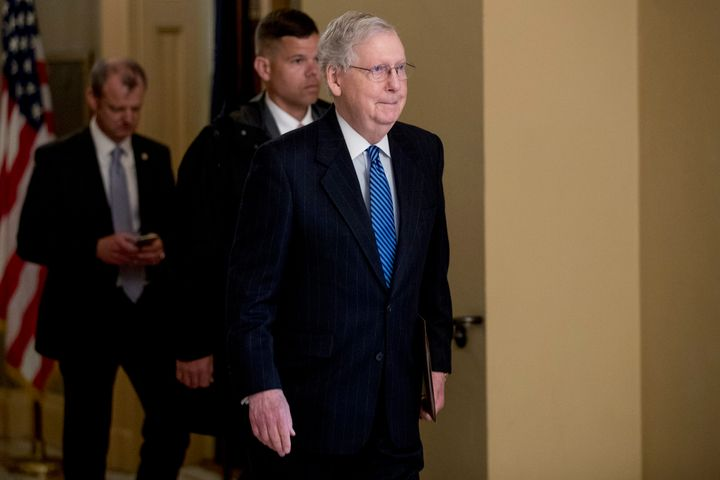 Senate Majority Leader Mitch McConnell of Ky. walks to the Senate Chamber on Capitol Hill in Washington, Monday, March 23, 20