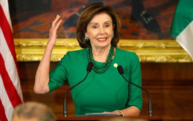 Nancy Pelosi, presidenta de la Cámara de Representantes de los Estados Unidos, durante el almuerzo del orador el ...