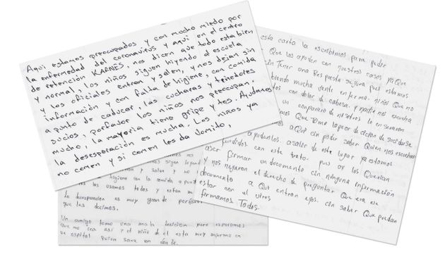 Letters from immigrants at the Karnes County Residential Center, obtained by