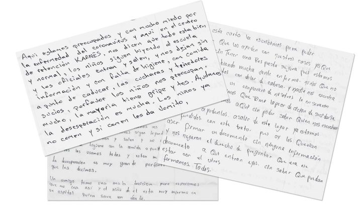 Letters from immigrants at the Karnes County Residential Center, obtained by HuffPost.