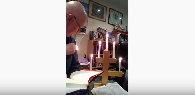 Holy smokes!Rev. Stephen Beach accidentally set himself on fire filming a worship service from...