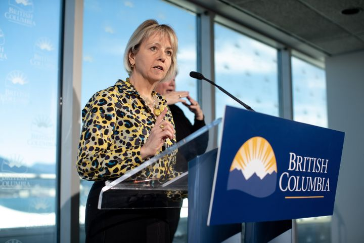 British Columbia provincial health officer Dr. Bonnie Henry speaks during a news conference regarding the novel coronavirus COVID-19, in Vancouver on March 14, 2020.