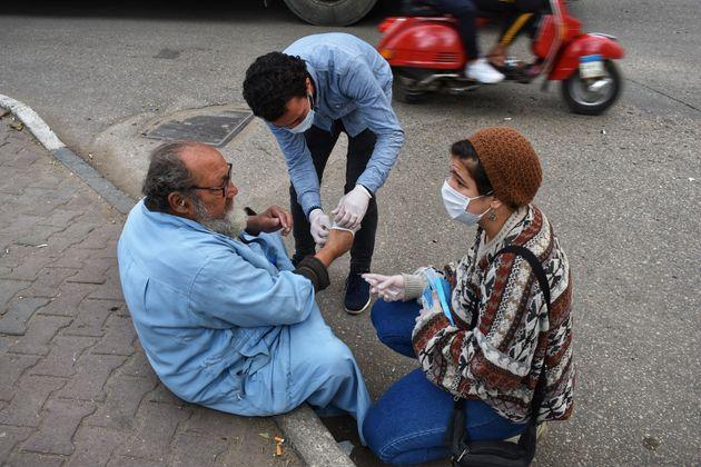 Ato de solidariedade da população mais vulnerável em Cairo, no